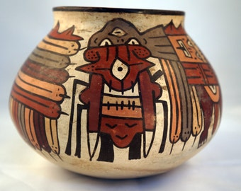 "Pre-Columbian Nazca (Nasca) Pottery Bowl-""Horrible Bird"""