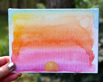Sunset Watercolor 5 x 7 Canvas Panel