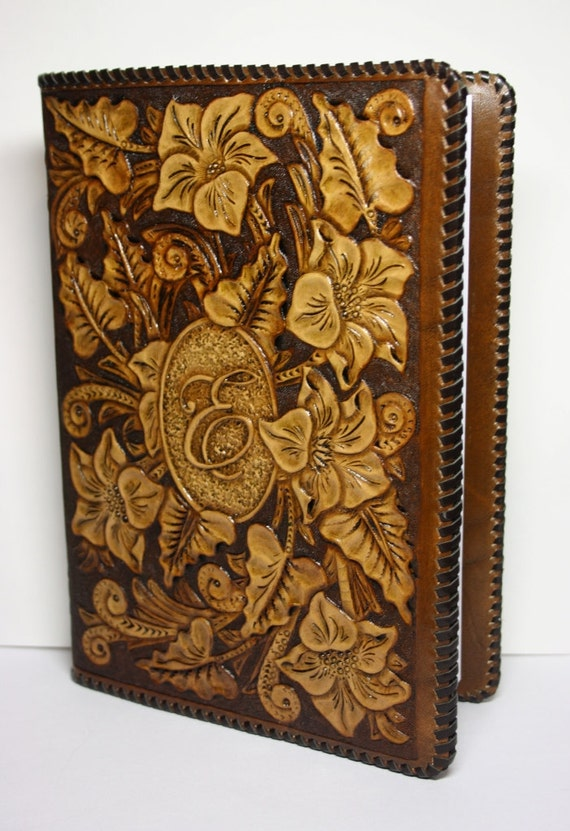 handtooled leather book cover handcrafted book cover
