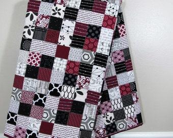 University of South Carolina Toddler Quilt - Burgundy, Black and White Quilt
