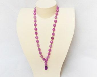 Amethyst gemstone necklace Purple Lila Agate Summer 2016 Sautoir