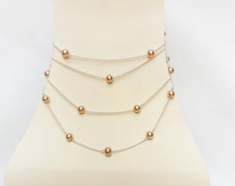 Multi-strang Chain Necklace with shiny Glass Pearls Casual Summer Light glossy Beaded Necklace