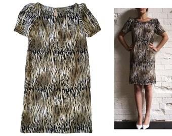 Zebra Animal Print 80s Mini Dress Puff Sleeve