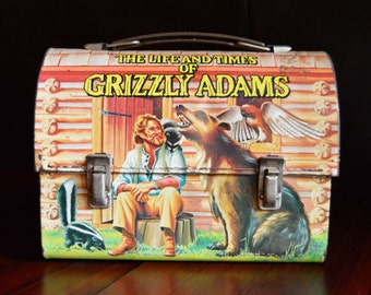 Vintage 1977 The Life and Times of Grizzly Adams Metal Lunch Box