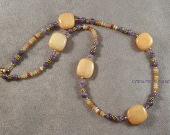 Orange Jade & Lepidolite Necklace