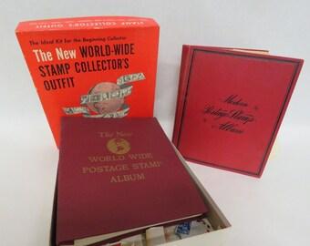 Vintage 1961 Minkus New World Wide & 1925 Postage Stamp Albums w/ Lose Stamps