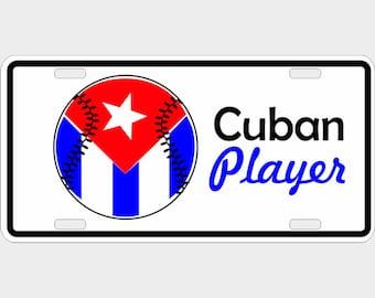 Cuban Baseball Player Decorative License Plate