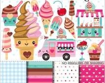 Ice Cream Clipart, Ice Cream Graphics, COMMERCIAL USE, Kawaii Clipart, Cute Clipart, Ice Cream Truck, Planner Accessories, Ice Cream Shop