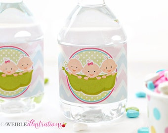 Triplets 2 Boys 1 Girl Sweet Pea Printable Water Bottle Wrappers, Triplets Pea Pod Bottle Labels, Baby Shower Printable Wrappers