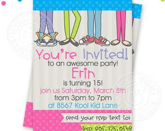 Girls Cool Teen Party Printable Invitation, Custom Teen Party Invitation, Printable Teen Girl Birthday Party Invitation, Feet Invitation
