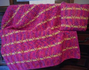 "New Neon Pink Hand Crochet Afghan & Pillow Set Original Design Teen Toddler Baby Blanket 42"" x 37"""