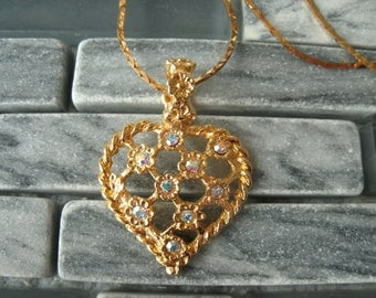 Sparkly Vintage Rhinestone Heart Pendant Necklace Bright Gold Tone Valentines Day