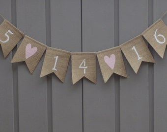 Save The Date Banner, Save The Date Sign, Burlap Engagement Banner, Save The Date Garland, Wedding Date Banner, Engagement Prop Bunting