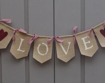 Love Banner, Love Bunting, Valentines Day Decor, Shabby Chic Banner, Rustic Valentines Decor, Farmhouse Valentines Decor, Valentine Decor