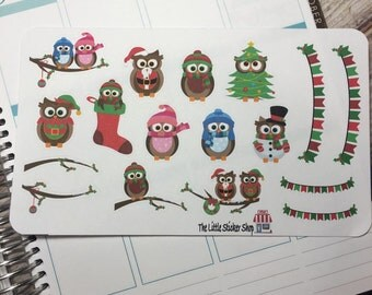 Cute Christmas owl stickers for your life planner. Repositionable