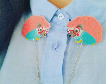 """Collar Clips // Illustrated """"Sprinkles the Hedgehog"""" sweater clips // collar clips // hedgehog jewelry // pink // cardigan clips"""
