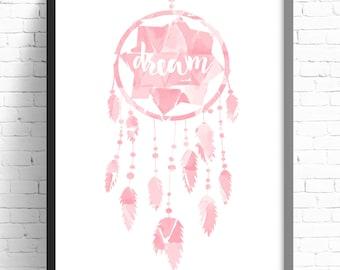 Nursery Print, Girls Bedroom Wall Art, Pink Geometric Watercolor Dreamcatcher, Nursery Decor, Girls Nursery Print, Tribal Nursery Print