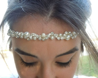 Rhinestones and Pearl Wedding Headband / bridal headband, wedding headband,headpiece,Wedding hair accessories