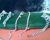 Set of Vintage Rhinestone Earrings, Necklace, & Bracelet