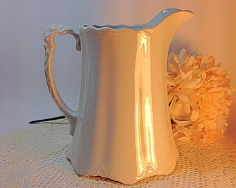 Vintage Pitcher Pale Gray Pitcher The Imperial England W.H. Grindley & Co. Cottage Chic Vignette Tablescape Decorative Accent Neutrals