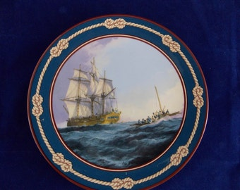 Royal Doulton plate Bounty great sailing ships of discovery numbered no 391A with certificate painted by Bentham-Dinsdale collector 1990