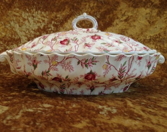 Copeland Spode ROSEBUD CHINTZ Oval Covered Vegetable bowl England
