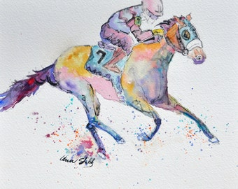 Race Horse Illustration Note Cards