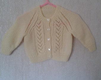 Baby Girl Cardigan, Knitted Cardigan, Hand Knitted, Handmade