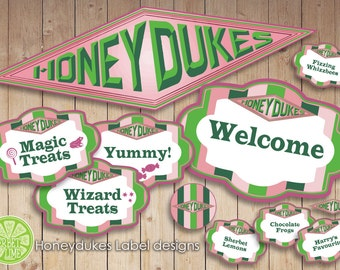 140 Harry Potter inspired Honeydukes Sweet/Candy Labels