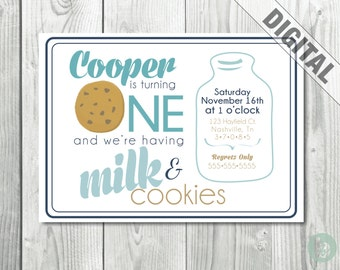 Cookies + Milk Birthday Invitation  |  Digital