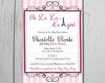 Oh La La Printable Baby Shower Invitation