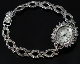Sterling Silver Watch Set With Marcasites Victorian Style