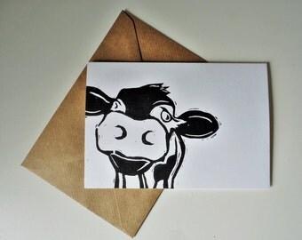 Linocut card - cow card - birthday card - handmade card - anniversary card - wedding card - notecard  - cow - greetings card