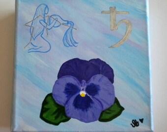 Beautiful Aquarius painting w/flower, constellation & planet