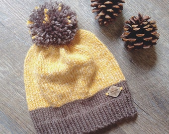 """Women's Knit Beanie ~ Men's Winter Knit Hat with Pom Pom ~ Woodland - Rustic Knitted Hat """"THE GAINESVILLE"""" in Taupe Brown Mustard White"""