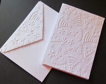 Embossed Birthday Hats Card - A2 Size - Set of 4 - Simple yet Elegant - Celebrate - Birthday Party - Matching Embossed Envelopes