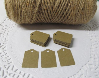"""100 Kraft Tags - Thank You Tags - Price Tag - Jewelry Tag - Merchandise Tags - Now Offering Personalized Tags with or without Hemp Twine 8"""""""