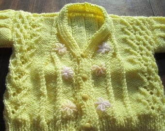 yellow, pink, orange v neck 4 button floral embroderied 6/9 month sweater