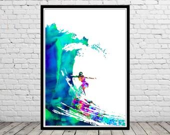 Surfer girl, Surf print, Ocean art,surfboard print, Wave, sealife, watercolor art print, home decor (1980b)