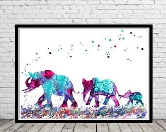 Elephant, Elephant family, watercolor art print, animal painting, home decor,  elephant art , animal art (2142b)