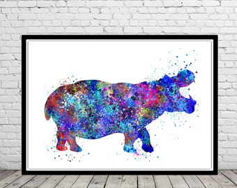 Hippo, Hippo  print, hippopotamus, watercolor art print, animal painting, home decor, watercolor painting, animal art (1345b)