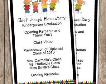 Kindergarten Graduation Half Sheet Blank EDITABLE Program INSTANT DOWNLOAD