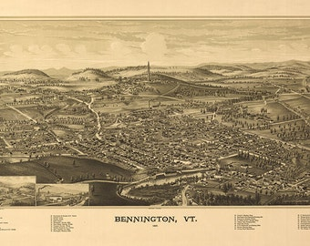 Map of Bennington, Bennington Co. Vermont VT. 1887. Vintage restoration hardware home Deco Style old wall reproduction.