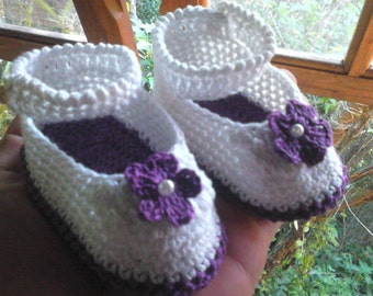 Crochet baby Shoes - Violet