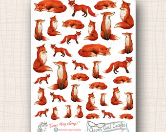 Decorative Fox Planner Stickers | You Sly Fox | 36 Stickers Total | #SD30
