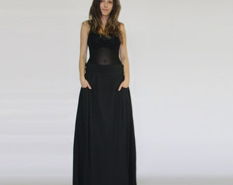 Black maxi skirt / Pockets skirt / Long black skirt / Elastic waistband skirt