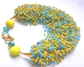 Blue and yellow seed bead necklace – blue yellow jewelry – airy multi strand seed bead necklace