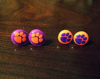Clemson Tigers earrings - dot button stud earrings