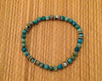 Dyed turquoise EVIL EYE Stretch Bracelet, handmade!