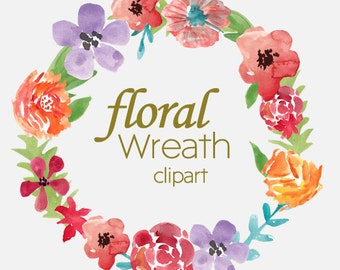 Watercolor Floral Wreath Clipart Commercial Use